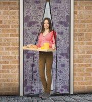 Záves na dvere proti hmyzu Fialový s motýľmi