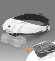 Lupa na čelo s LED svetlom, dvojtou šošovkou
