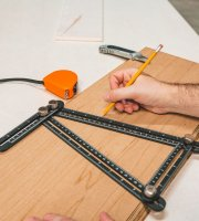 Kovové štvorstranné pravítko, kopírka uhlov - 31 x 18 cm