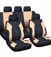 Sada poťahov na sedadlá - béžová / čierna 9 ks - HSA008