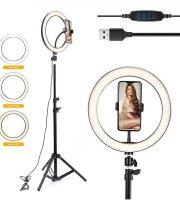 Selfie lampa so stojanom, držiakom telefónu a ovládaním jasu