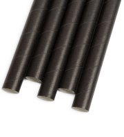 Papierová slamka - čierna 197 x 10 mm - 80 ks / balenie