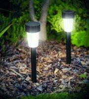 LED solárna lampa do exteriéru plast - čierna