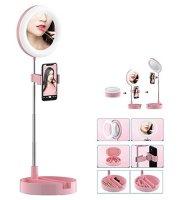 Kozmetické LED zrkadlo na líčenie s držiakom na telefón