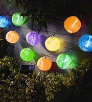 Reťaz zo solárnych lampiónov - 10 ks farebných lampiónov, studená biela LED - 3,7 m