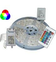 LED pás s diaľkovým ovládaním, biela / RGB farby 5 m