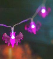 Halloweenska LED sveteľná reťaz - netopier - 10 LED - 2 x AA - 1,35 m