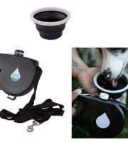 Automatické vodítko pre psa s nádržkou a silikónovým napájadlom